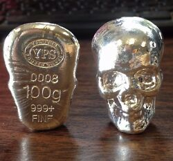100 Gram 999 Silver Bullion Skull By Yps Yeager's Poured Silver