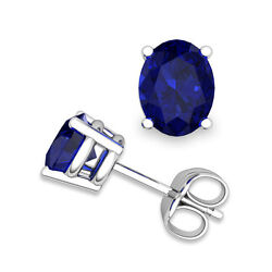 18karat Gold Oval Natural Blue Sapphire Pair Of Ear-studs In 4 Claw Setting