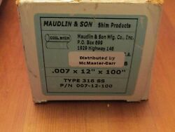 Maudlin And Son Stainless Steel Shim Stock 6 X 100 Inch .007 New Old Stock