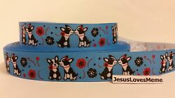 Grosgrain Ribbon Boston Terrier Doggies on Blue with Flowers 78