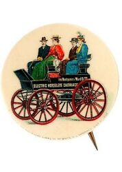 1896 Montgomery Ward And Co Electric Horseless Carriage 1.25 Pinback W/back Paper