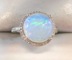 14k White Gold 10.4mm 5.74CT Round Cabochon Ethiopian Opal & Diamonds Ring