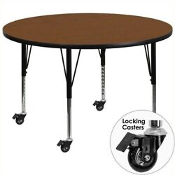Flash Furniture 26 X 48 Round High Pressure Top Mobile Activity Table In Oak