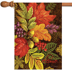Toland Changing Colors 28 x 40 Colorful Welcome Fall Autumn Leaves House Flag