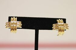 Tiffanyandco 18k Solid Yellow Gold Signature X Clip 18mm And Pierced Omega Back