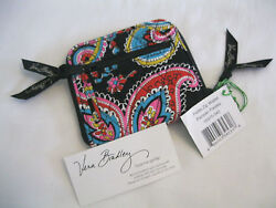 Vera Bradley Parisian Paisley Compact Zip Around Wallet For Purse Tote Backpack
