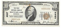 10. 1929 Mountain Lake Minnesota National Currency Bank Note Bill Ch. 9267