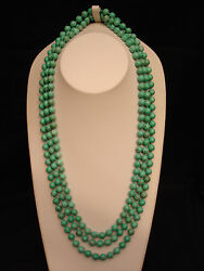 85 Vintage Chinese Natural Turquoise Knotted 8mm Bead Necklace