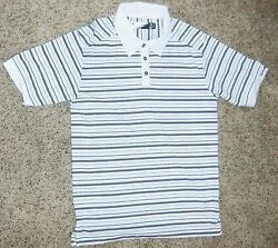 OAKLEY White Striped Polo Shirt Size S $9.99