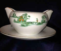 Narumi Nar54 Gravy Boat And Attached Under Plate Green Willow Brown Pagoda Gold