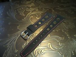 Nos Sport Black 18 Mm Corfam Red Stitched Watch Strap Leather And Rubber Suede
