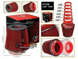 Red 2.5-4.0 Inlet Universal Cold Air Intake Cone Adjustable Size Dry Filter