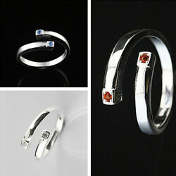 925 Solid Sterling Silver Plated Women Fashion zircon Ring Gift SIZE Open HR438