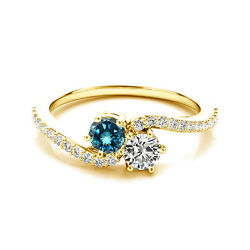 1.24 Cts White And Blue Vs2-si1 2 Stone Diamond Solitaire Ring 14k Yellow Gold