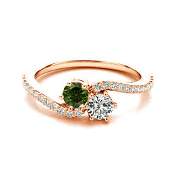 1.24 Cts White And Green Vs2-si1 2 Stone Diamond Solitaire Ring 14k Rose Gold