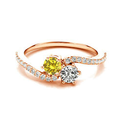 1.24 Cts White And Yellow Vs2-si1 2 Stone Diamond Solitaire Ring 14k Rose Gold