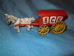 Antique Heavy Cast Iron Toy Horse And Ice Wagon Cart Stage Coach Hubley Vintage