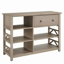 Linon Titian Tall Pine Wood Media Center In Driftwood