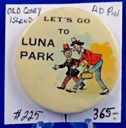 Letand039s Go To Luna Park Coney Island Old Advertising Pin Pinback Button 1 3/4
