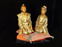 Fantastic Vintage Solid Bronze Japanese Figurines - Man And Woman - With Onyx Base