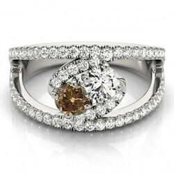 1.58 Carat Brown And White Vs2-si1 2 Diamond Solitaire Engagement Ring 14k Wg