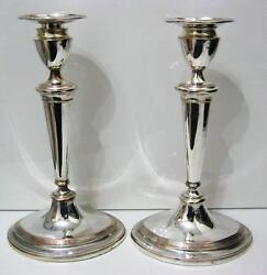 C19th Oval Silver Plated 10.5 Candlesticks - Nice Items Silver On Copper.