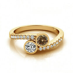 1.16 Cts Brown And White Vs-si1 2 Stone Diamond Solitaire Engagement Ring 14k Yg