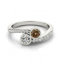 1.16 Cts Brown And White Vs-si1 2 Stone Diamond Solitaire Engagement Ring 14k Wg