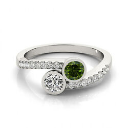 1.16 Cts Greenand White Vs-si1 2 Stone Diamond Solitaire Engagement Ring 14k Wg