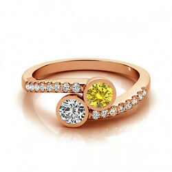1.16 Cts Yellow And White Vs-si1 2 Stone Diamond Solitaire Engagement Ring 14k Rg