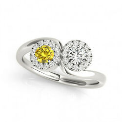 1.24 Cts Yellow And White Vs-si1 2 Stone Diamond Solitaire Engagement Ring 14k Wg