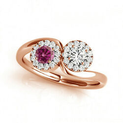 1.24 Cts Pink And White Vs-si1 2 Stone Diamond Solitaire Engagement Ring 14k Rg