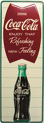 Coca-cola Vertical Fishtail Limited Edition Metal Sign 38 By 18