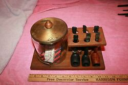 Vintage 6 Pipes And Stand With Glass Humidor Pipemaker Leisure Brewster Parker