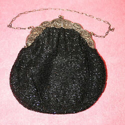 Antique Sterling & Beaded Evening Purse Great Detailed Design