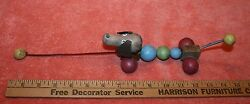 Vintage Unmarked Wood Dog And Spring Pull Toy
