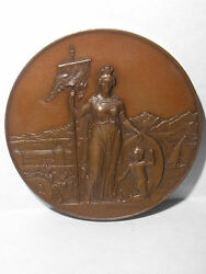 Antique 1891 Swiss Shooting Cantonal Vaudois Morges Bronze Medal Hugues Bovy