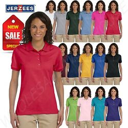 Jerzees Women Polo Shirt Short Sleeve SpotShield Solid M 437W $9.58