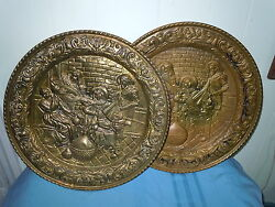 Pair Vintage Brass Wall Plate Chargers Tavern Scene Lute And Wine England Plaque