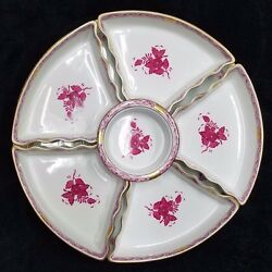 Antique Herend Hand-painted Chinese Bouquet Raspberry W/ 6 Nesting Bowl -rare