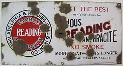 Antique Porcelain Reading Anthracite Coal Sign - Phila And Reading Coal And Iron Co