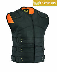 Men's Gladiator Swat Leather Motorcycle Club Style Vest With Dual Gun Pockets