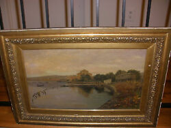 Antique Oil On Canvas Painting Listed Artist Albert Aublet French 1851-1938