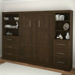 Bestar Pur 120 Full Wall Bed With 2 Piece 6-drawer Storage Unit In Chocolate