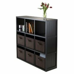 Winsome Timothy 7pc 3x3 Wainscoting Shelf With 6 Baskets In Black