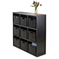 Winsome Timothy 10pc 3x3 Wainscoting Shelf With 9 Baskets In Black