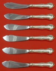 English Gadroon By Gorham Sterling Silver Trout Knife Set 6-pc Custom Made