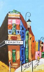 Vintage Camnito Impressionist Painting. Bright Colorful Street Art. Signed Nice