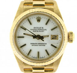Ladies Rolex Solid 18k Yellow Gold Datejust President Watch W/white Dial 6917
