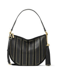 New Michael Kors Brooklyn Grommet Appliqué Medium Convertible Hobo black bag $170.99